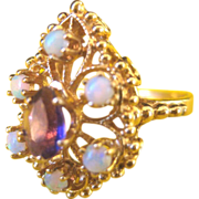 ..Vintage 14 kt Fiery Opals Amethyst Cocktail Ring
