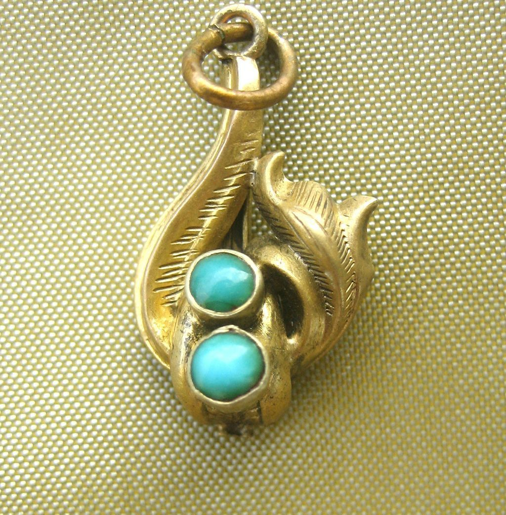 Antique art nouveau 12 kt gold charm pendant from myjewelry on ruby