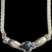..Vintage 10 kt  1.30 ct Diamond Sapphire Necklace