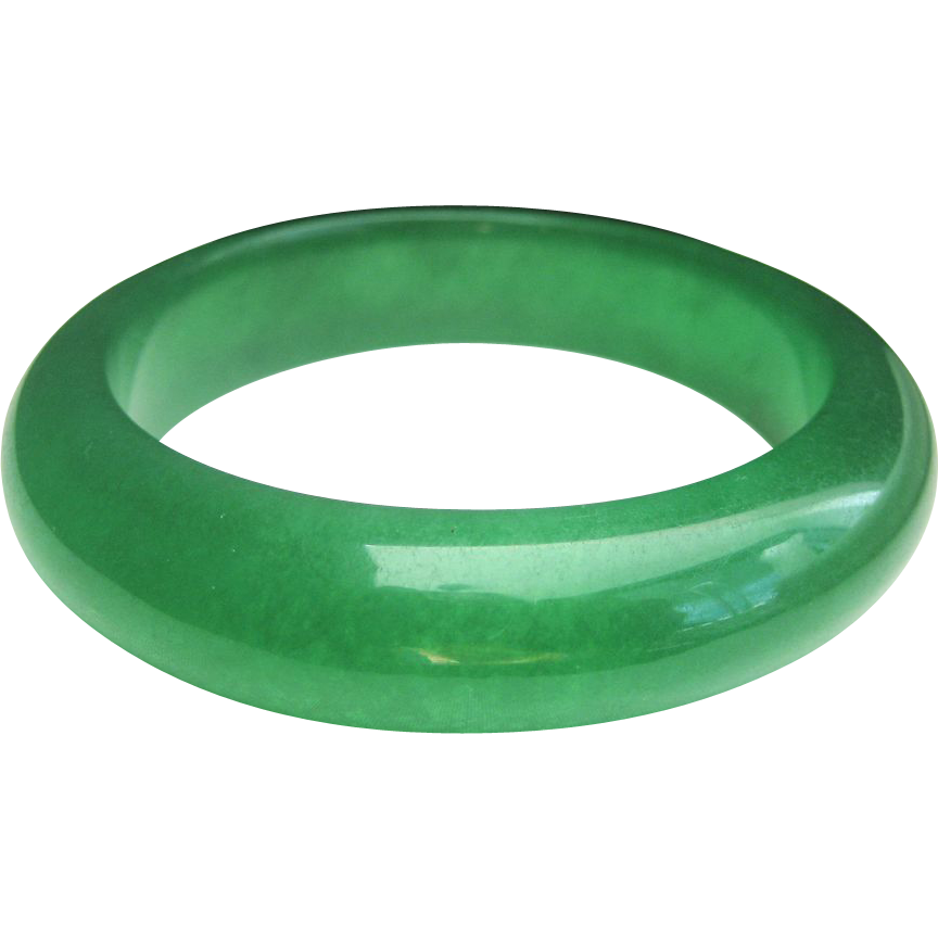 Vintage Chinese Apple Green Jade Bangle Bracelet Sold On