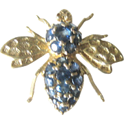 Vintage Mid Century 1 ct Sapphire 14 kt Bee Pin and Pendant