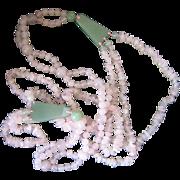 Vintage Art Deco 28'' Rose Quartz Jade Necklace