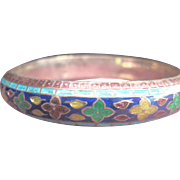 Antique Chinese Solid Sterling Cloisonne Enamel Bangle Bracelet (circa 1880's)