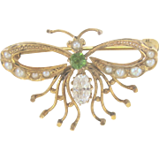 Vintage 10 kt Natural Seed Pearl, Peridot and White Sapphire Butterfly Pin