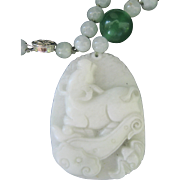 Vintage Sterling Chinese Natural Jade Craved Ox Pendant Necklace