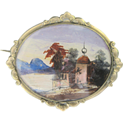 Antique Georgian Watercolor Scene Pin