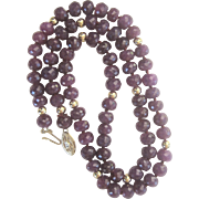 Natural Faceted 175 ct. Ruby 14 kt Clasp and Bead Necklace