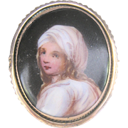 Antique Victorian Pinchbeck Miniature Portrait Porcelain Pin