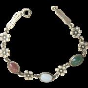 Vintage Art Deco Sterling Carnelian Chalcedony Camphor Glass Flower Bracelet