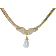 LAST CHANCE..Vintage Napier Faux Pearl Crystal Gold Plated Necklace