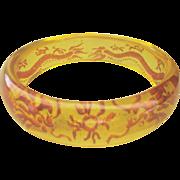 Vintage Lucite Double Chinese Dragon Bangle Bracelet