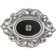Antique Victorian (circa 1850-60) Sterling Black Onyx Large Mourning Pin