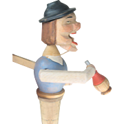 LAST CHANCE..Vintage ARNI  Wooden Movable Man Cork Bottle Stopper