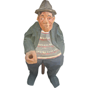 CLEARANCE..Vintage German Craved Wood Man Statue
