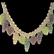 LAST CHANCE..Exquisite Antique Victorian Pinchbeck Bookchain Glass Fruit Necklace