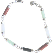 Vintage Jade, Carnelian, Onyx Sterling Bracelet