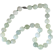 Vintage Sterling Chinese Jade 11.5mm Bead Necklace