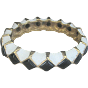 Vintage Black and White Enamel Clapper Bangle Bracelet