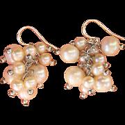 Vintage Cultured White Pearl Dangling Sterling Earrings
