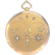 FALL...Antique Victorian 9kt Gold Photo Locket with Rock Crystals