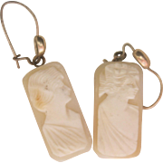 Antique Edwardain 10kt Cameo Drop Earrings