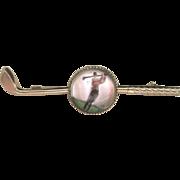 Vintage Art Deco 10 kt Reverse Painted Bubble Glass Golfer Pin