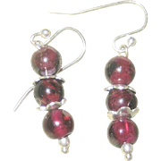 Vintage Sterling Garnet Drop Earrings