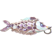 MID SUMMER..Vintage Chinese Sterling Articulating Enamel Fish Charm