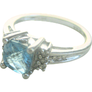 Vintage 1.10 ct. Aquamarine Diamond 14 kt Engagement Cocktail Ring