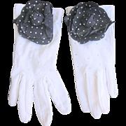 LAST CHANCE..Vintage  White Gloves with Navy White Polka Dot Flowers