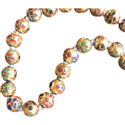 Vintage Chinese 10kt Gold Champleve Enamel 10mm Bead Necklace