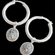 Vintage 18 kt Sterling Large Hoops Earrings
