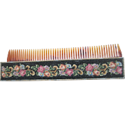 Vintage Wool Petite Point Retractable Purse Comb