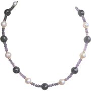 Vintage 14 kt Amethyst and Cultured Saltwater Pearl Necklace.