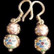 Vintage 10kt Cloisonne Bead Dangling Earrings