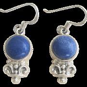 Vintage Sterling Lapis Dangling Earrings