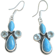 CLEARANCE..Vintage Sterling Turquoise Aquamarine Dangling Earrings