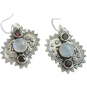 Vintage Sterling Moonstone Garnet Earrings