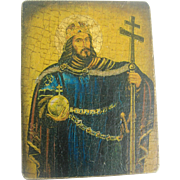 Vintage Miniature Greek Orthodox Signed Christ Icon