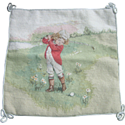 Vintage Victorian Boy Playing Golf Needlepoint Pillow