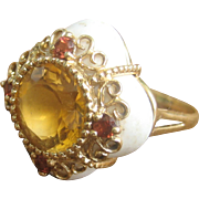Vintage 14kt Large White Coral Citrine 3.75 cts Cocktail Ring
