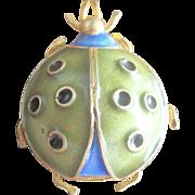 Vintage 900 Silver Enamel Lady Bug Pin