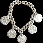 Vintage Silver Plated Roman Coin Charm Bracelet