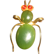 Vintage Heavily Gold Plated Jade Beetle Pin