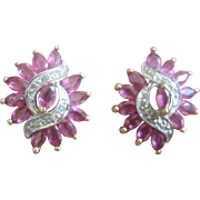 Vintage 14kt 3 carat  Ruby Diamond Stud Earrings