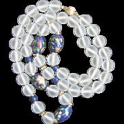 Vintage 14kt large Camphor Glass (14mm)Cloisonne Bead Necklace