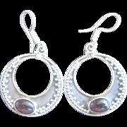 Vintage Sterling Garnet Hoops Earrings