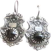 Antique Victorian Sterling Garnet Shield Earrings
