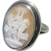 Antique Victorian Three (3) Graces Sterling Cameo Ring