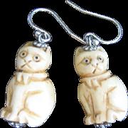 Vintage Sterling Chinese Hand Craved Bone Cat Earrings